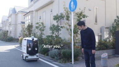 A near future lifestyle with an autonomous delivery robot